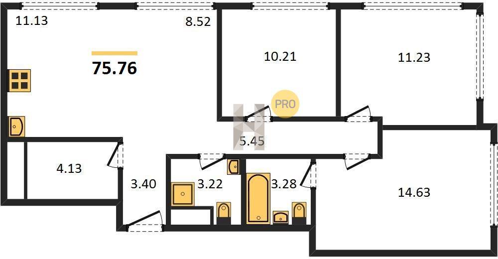 3-комнатная квартира в ЖК Discovery (Дискавери)