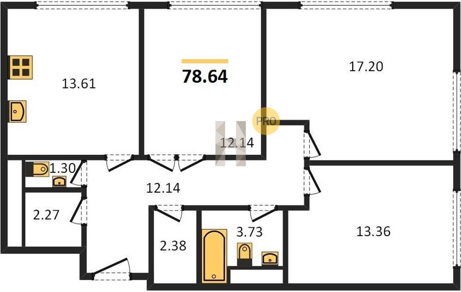 3-комнатная квартира в ЖК Прайм Тайм