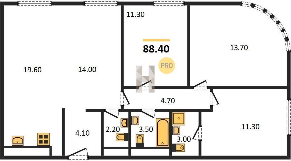 3-комнатная квартира в ЖК D1 (Д1)