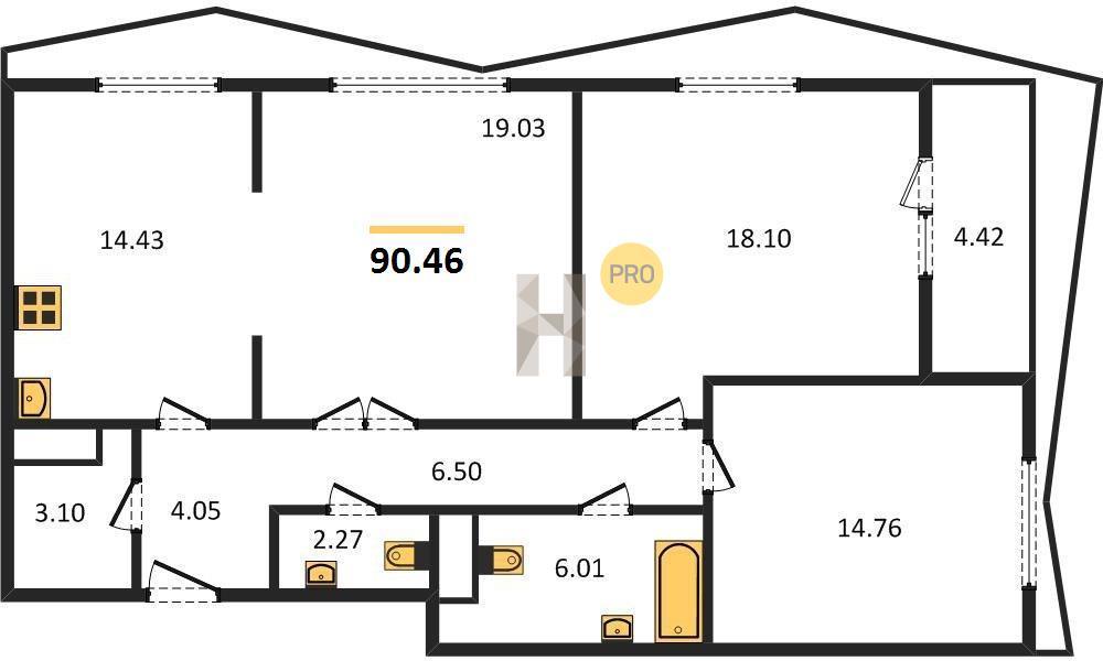 3-комнатная квартира в ЖК Город на реке Тушино-2018