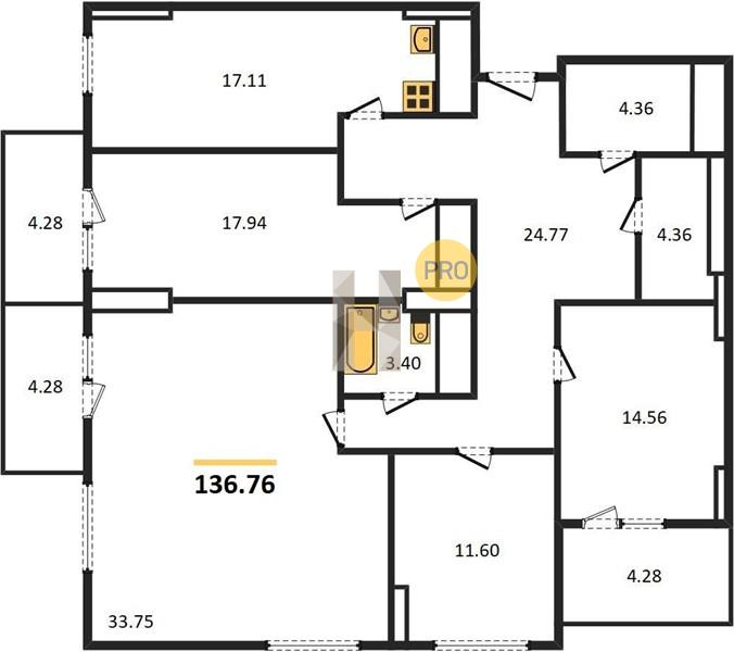 4-комнатная квартира в ЖК Одинбург